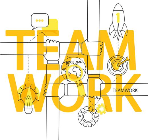 Teamwork concept infographic. vector
