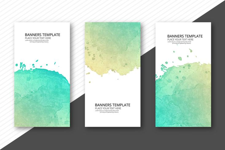 Set of three banners abstract colorful watercolor design