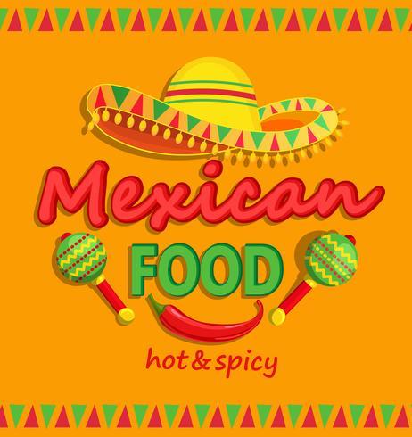 Mexikansk mat flyer med traditionell kryddig. vektor