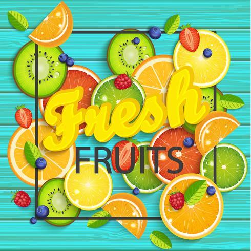 Blå träbakgrund med tropiska frukter.