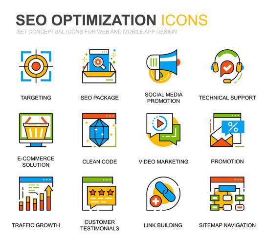 Simple Set SEO- und Weboptimierungszeilensymbole für Website- und Mobile-Apps