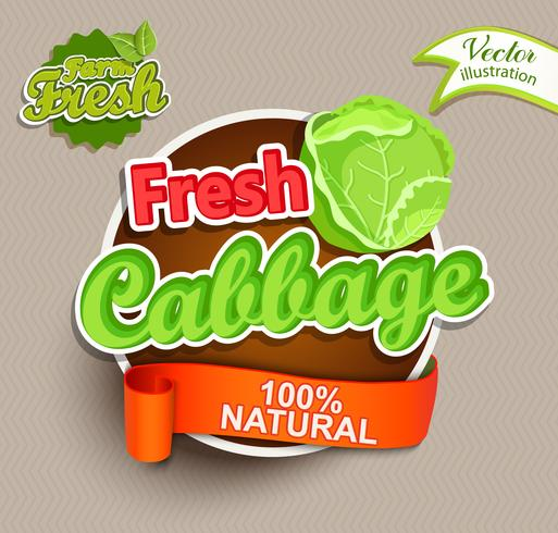 Fresh cabbage lettering.