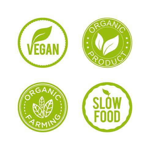 Gesundes Essen-Icon-Set. Vegane, Bio-Produkte, Bio-Landwirtschaft und Slow Food-Symbole.
