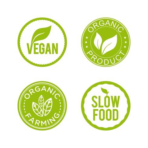 Conjunto de iconos de alimentos saludables. Vegan, producto orgánico, agricultura ecológica e iconos de comida lenta.