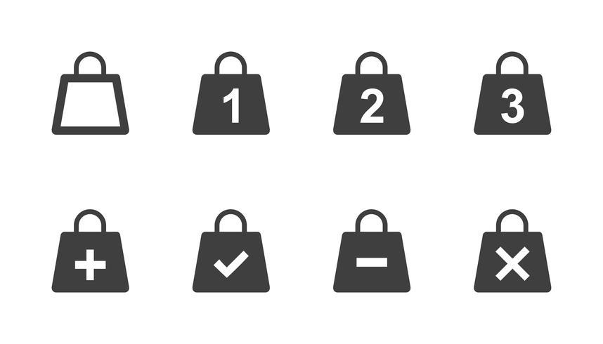 Vector conjunto de iconos de bolsa de compras