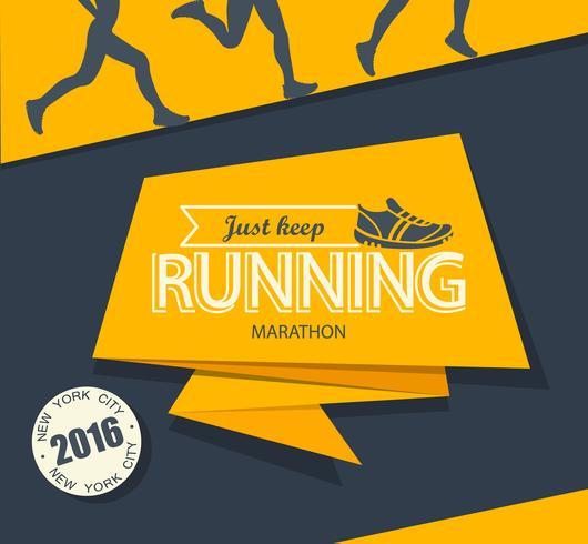 Running marathon and jogging. vector