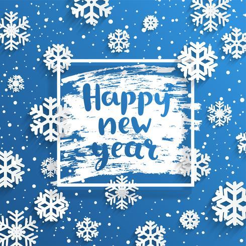 Felice anno nuovo cornice quadrata con fiocchi di neve intorno