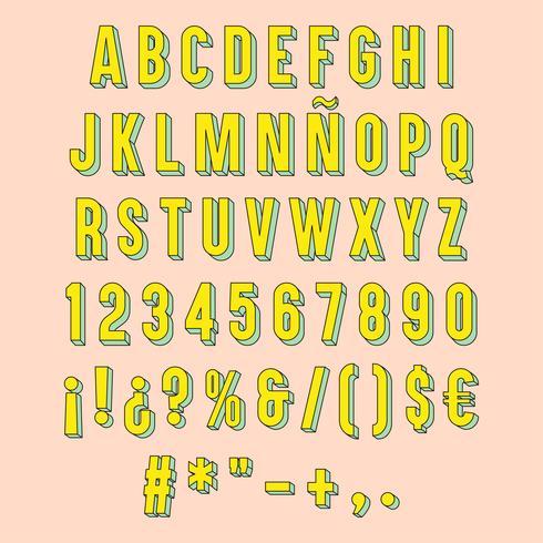 Gelbe 3D Typografie isoliert.