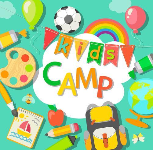 Cartel del campamento de verano. vector