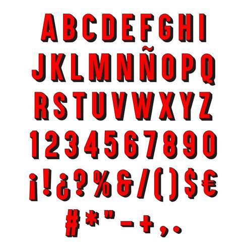 Tipografia 3D vermelha isolada.