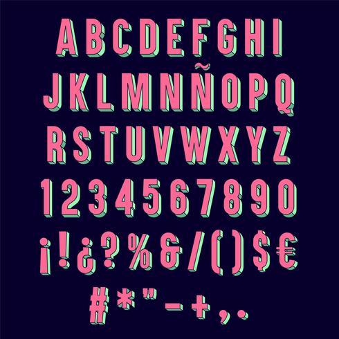 Tipografia 3D rosa isolada.