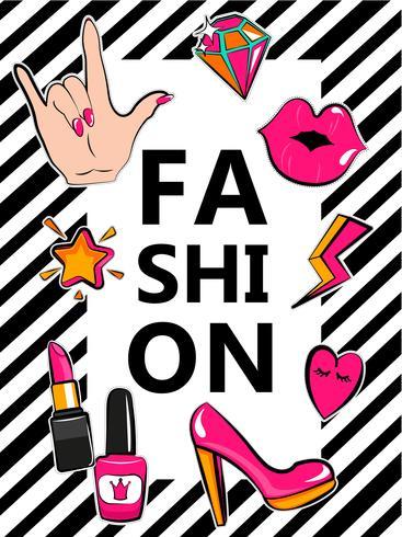 Mall för mode med snygga patch märken.
