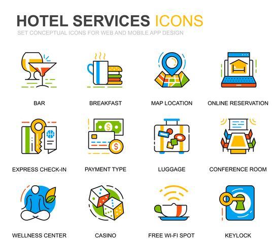 Enkla Ange Hotell Servicelinje Ikoner För Webbsida och Mobila Appar