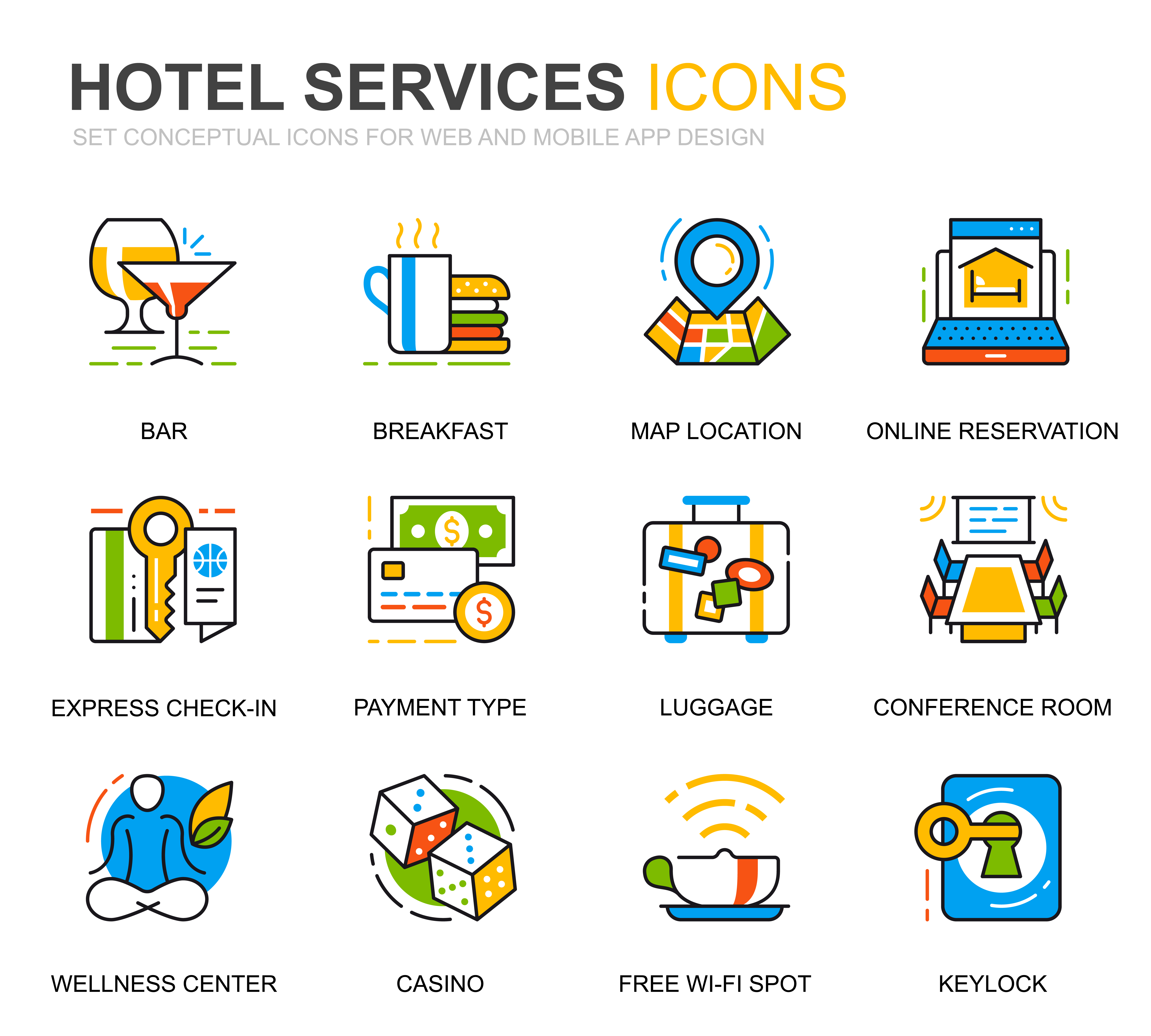 simple set hotel service line icons for website and mobile
