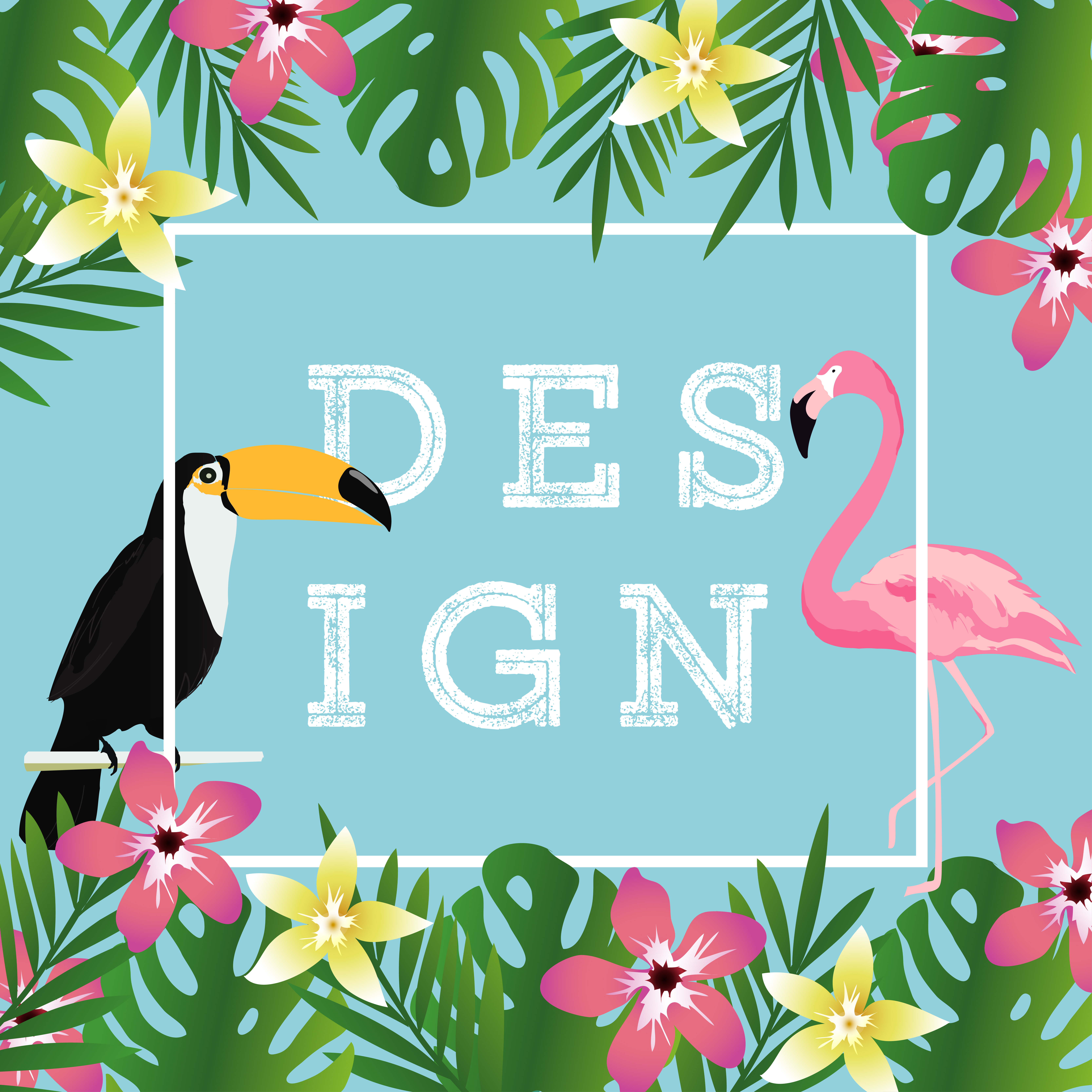 Tropical Background With Toucan Flamingo And Tropical
