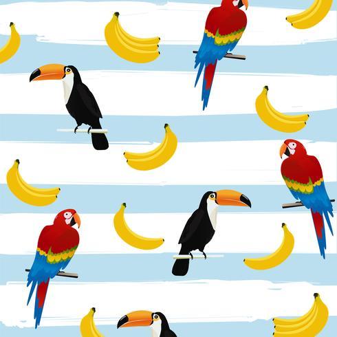 Toucans och papegojor med bananer på ränder sömlös mönster bakgrund