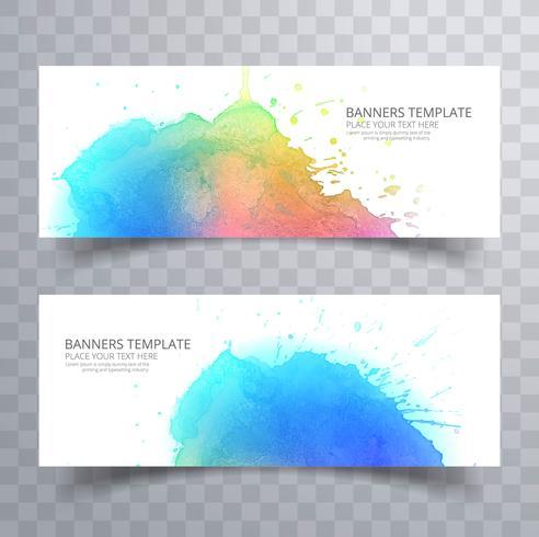 Conjunto elegante banner aquarela colorida