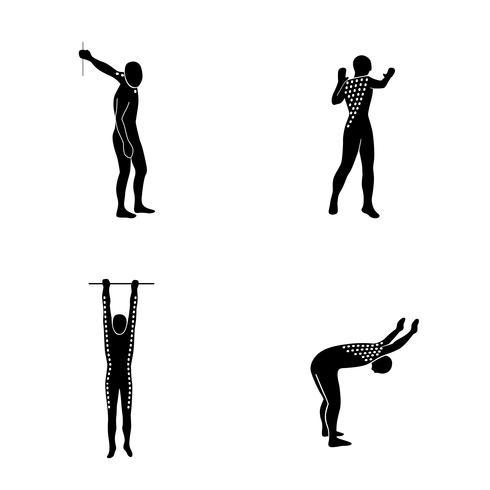 Stretching Exercise Icon Set per allungare braccia, schiena e collo