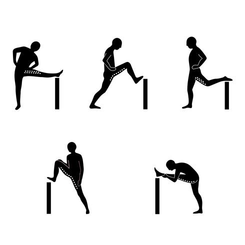 Stretching Exercise Icon Set to stretch legs and back.