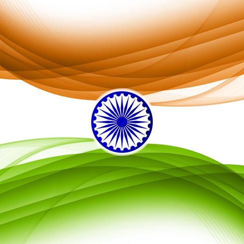 Abstrato ondulado indiano bandeira tema desenho de fundo