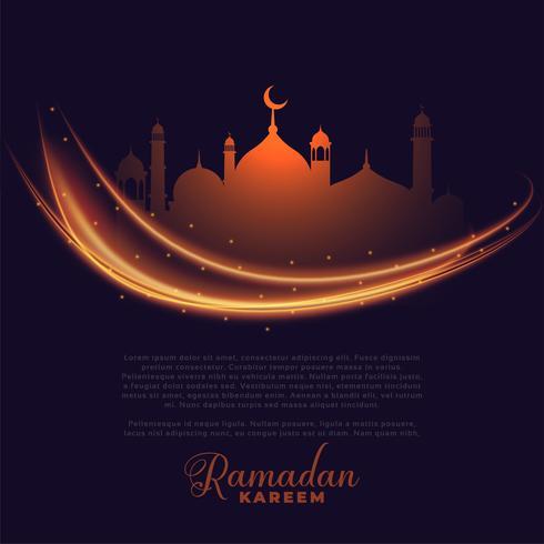 Ramadan Kareem glühende Lichter Grußdesign