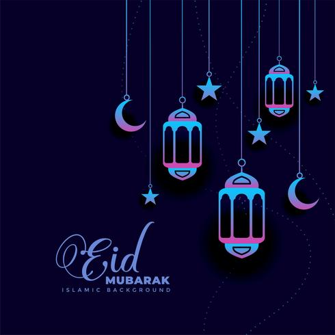 eleganter dunkler eid Mubarak Festivalgrußentwurf
