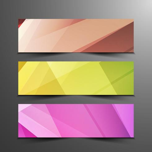 Abstract colorful elegant geometric banners set