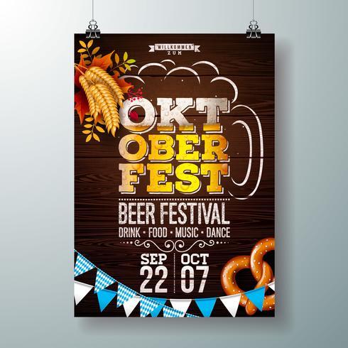 Oktoberfest partij poster illustratie