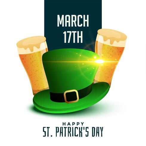 Fondo del día de San Patricio con cerveza y sombrero