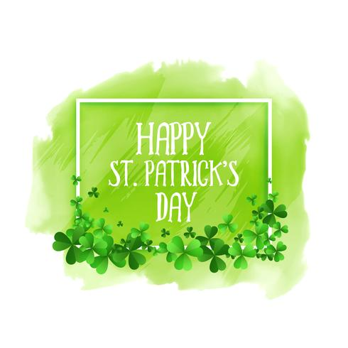 lycklig st patricks dag grön akvarell bakgrund