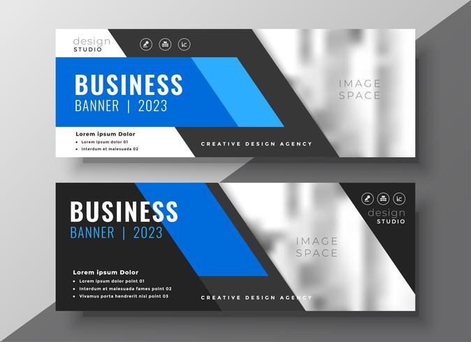 moderne Geschäftspräsentationsfahne im blauen geometrischen Stil