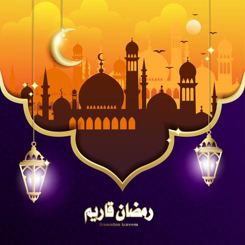 Elegant Design of Ramadan Kareem with Hanging Fanoos Lantern & Mosque Background vector