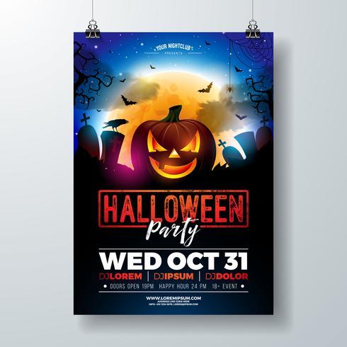 Halloween Party flyer illustration  vector