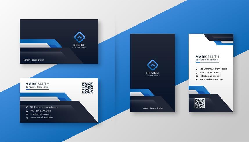 professionell uppsättning av blå geometriska visitkort