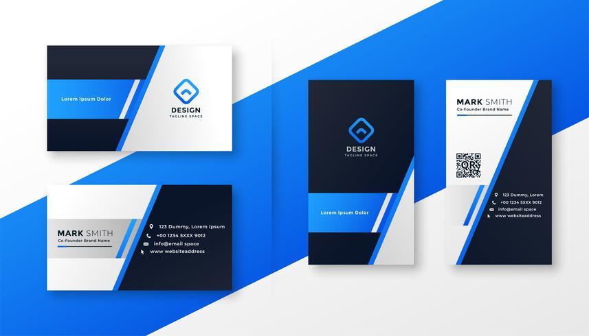 conjunto de modelo de cartão azul profissional