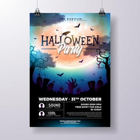 Halloween Party flyer illustration  vector