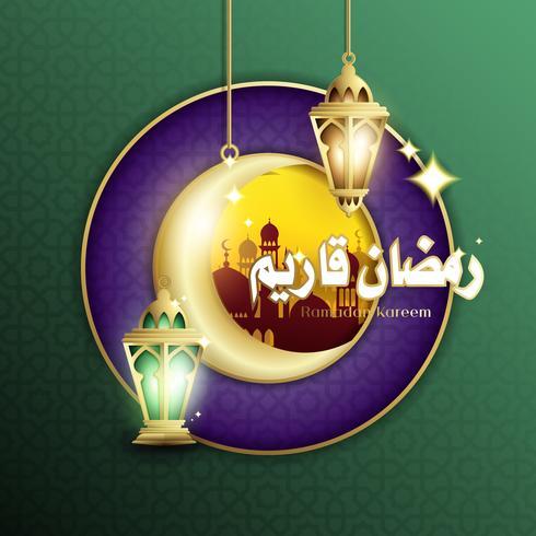 Elegant Design of Ramadan Kareem with Hanging Fanoos Lantern & Mosque Background vector
