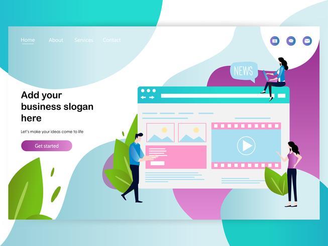 Plantilla de diseño de página web para diseño de página web. vector