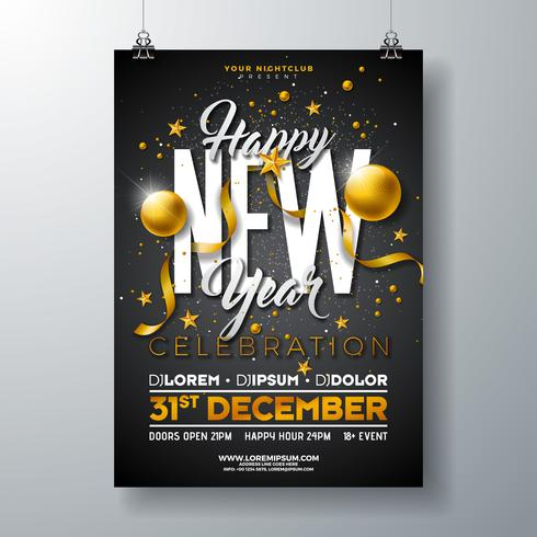 Happy New Year Party Celebration Illustration  vector