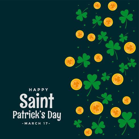 St. Patricks Day Blätter und Münzen Hintergrund