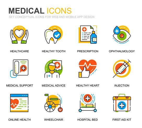 Einfache gesetzte Symbole für Gesundheitswesen und medizinische Linie für Website- und Mobile-Apps