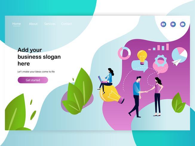 Plantilla de diseño de página web para reuniones de negocios y lluvia de ideas vector