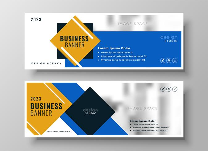 attraktiver moderner blauer Geschäftsfahnenschablonensatz