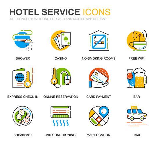Enkel uppsättning Hotell Tjänster Linje Ikoner för Webbsida och Mobila Appar
