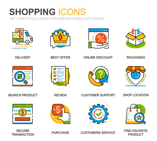 Simple Set Shopping and E-Commerce Line Icons for Website and Mobile Apps