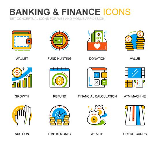 Simple Set Banking und Finance Line Icons für Website und Mobile Apps