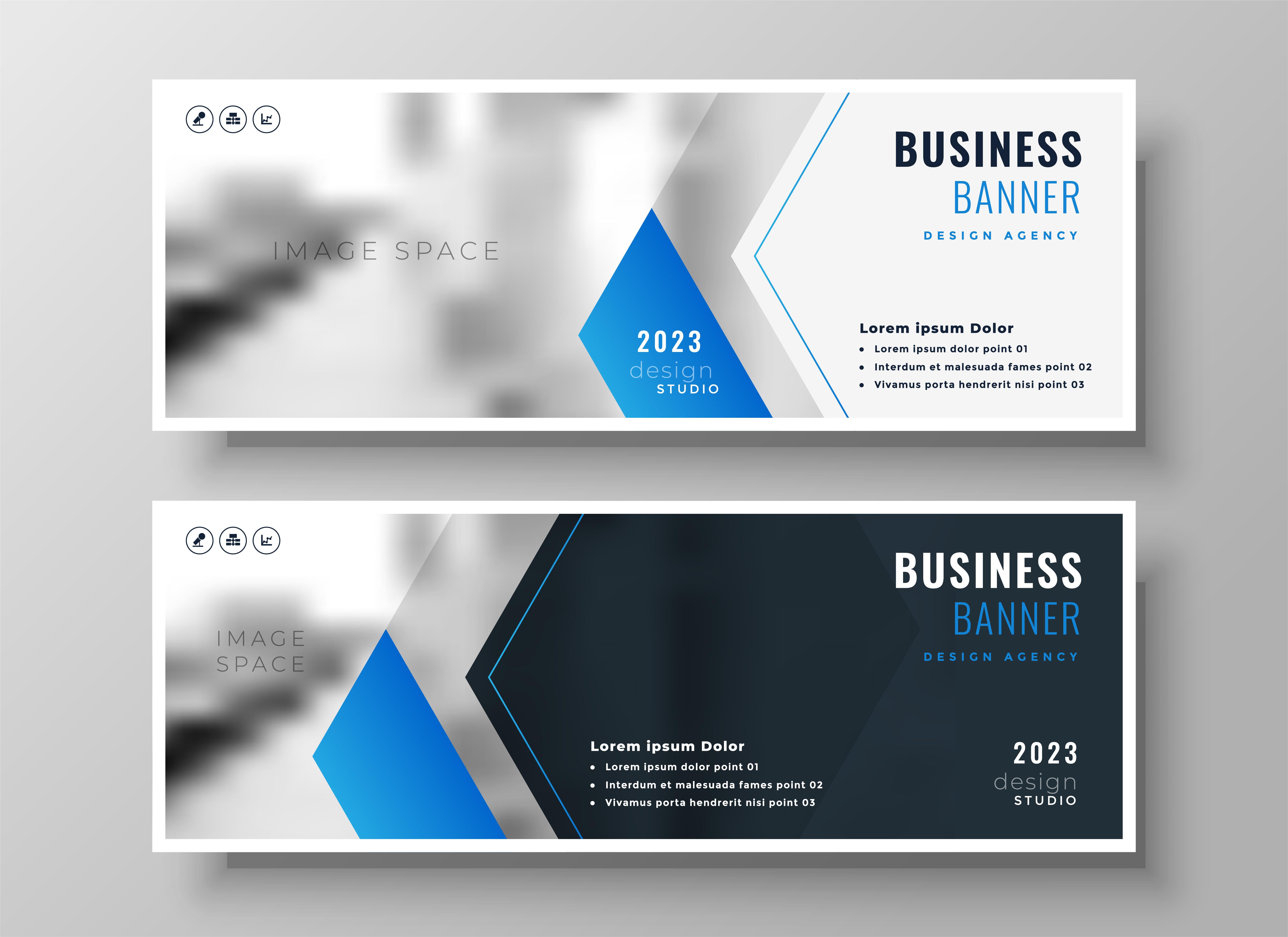 elegant blue modern business banner design template