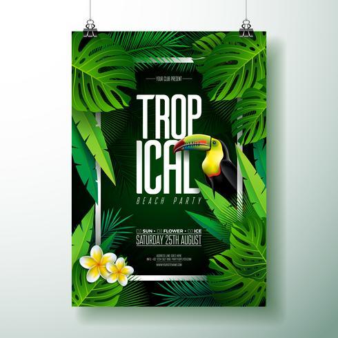 Disegno di Flyer di Tropical Beach Party vettore
