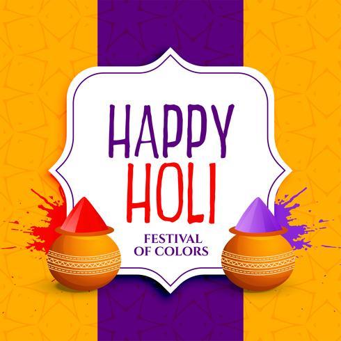 Happy Holi Gruß Design mit Farben Splatter