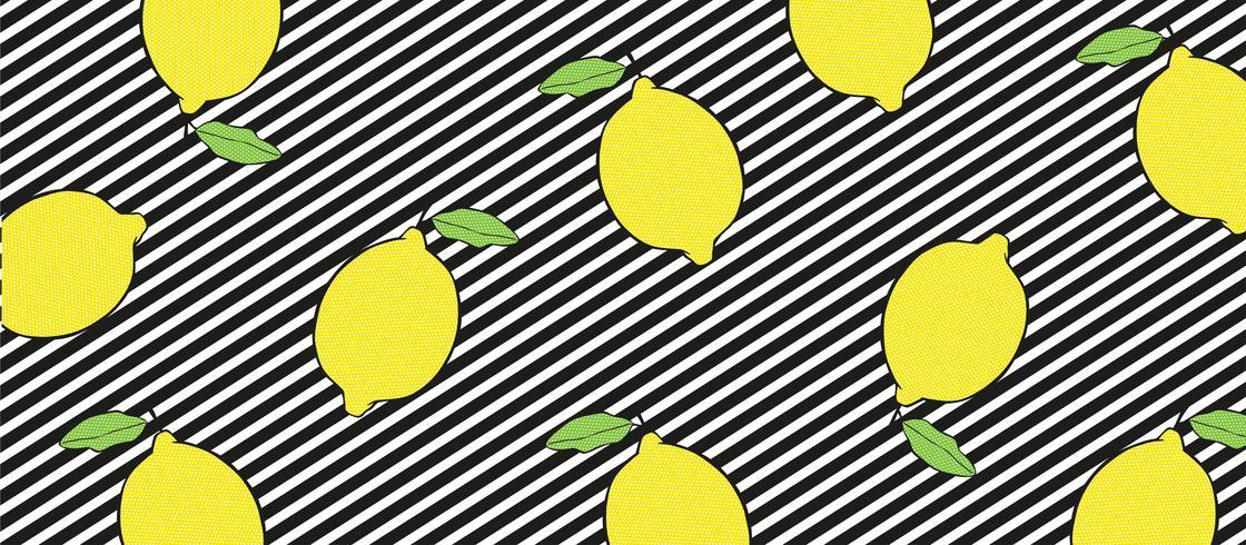Zitronen auf Schwarzweiss-Linien Hintergrund.